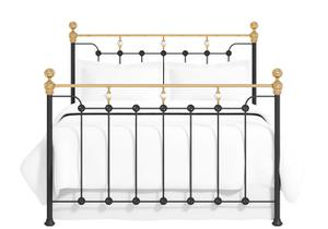 Glenholm iron bed in black with brass