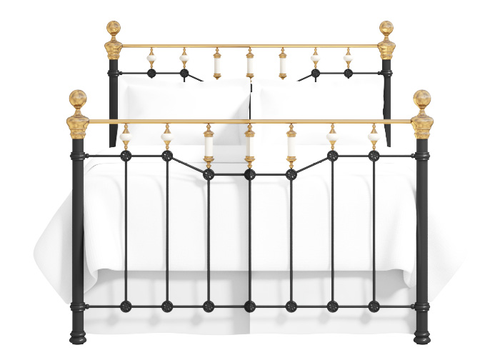 Glenshee iron bed in satin black with antique brass knobs