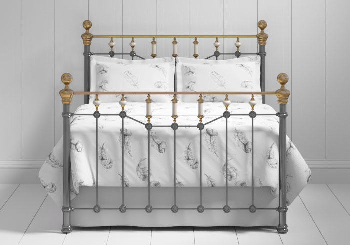 Glenshee iron bed in pewter with brass
