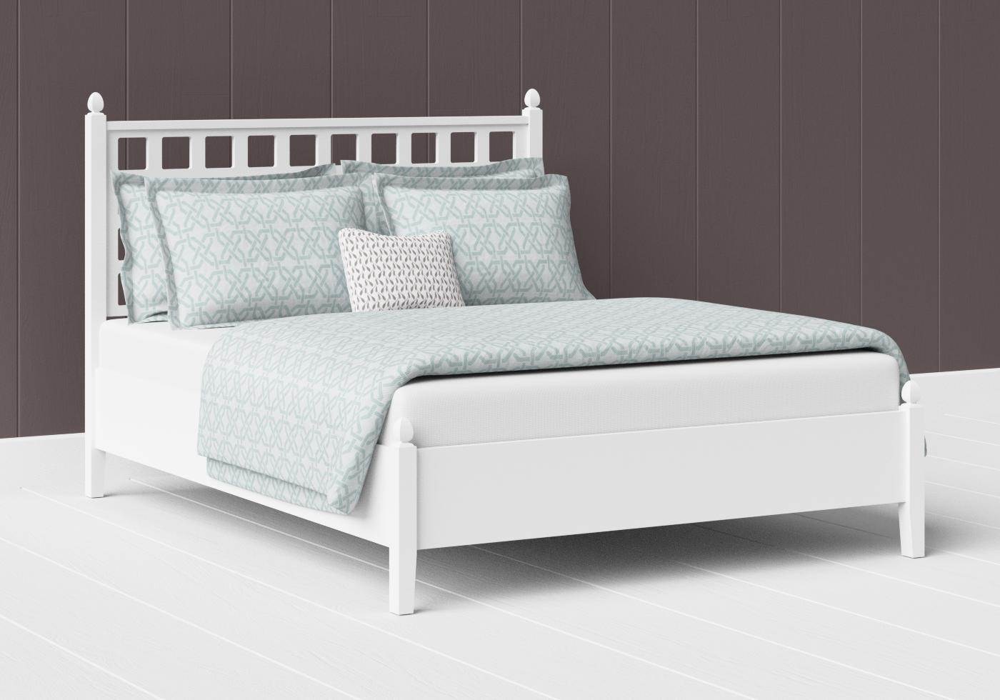 Hank low footend painted wood bed in satin white