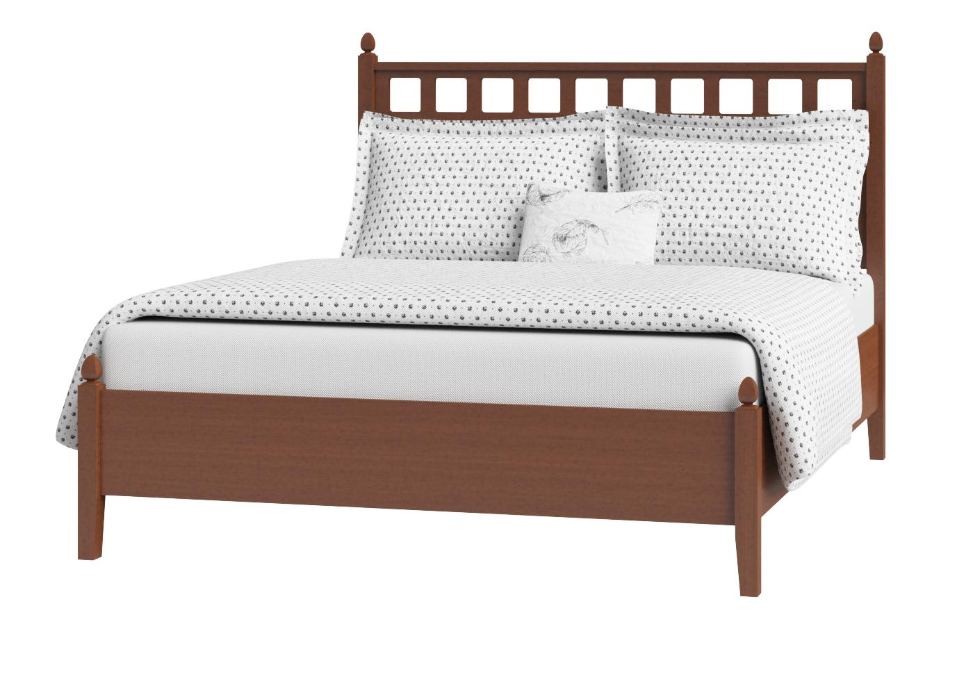 Cutout of Hank low footend wood bed in a dark cherry finish