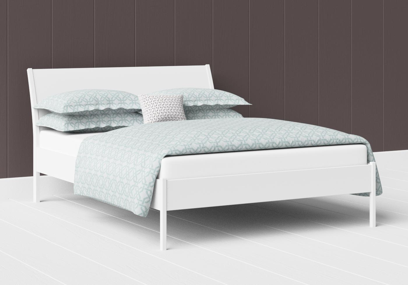 Hunt low footend painted wood bed in satin white