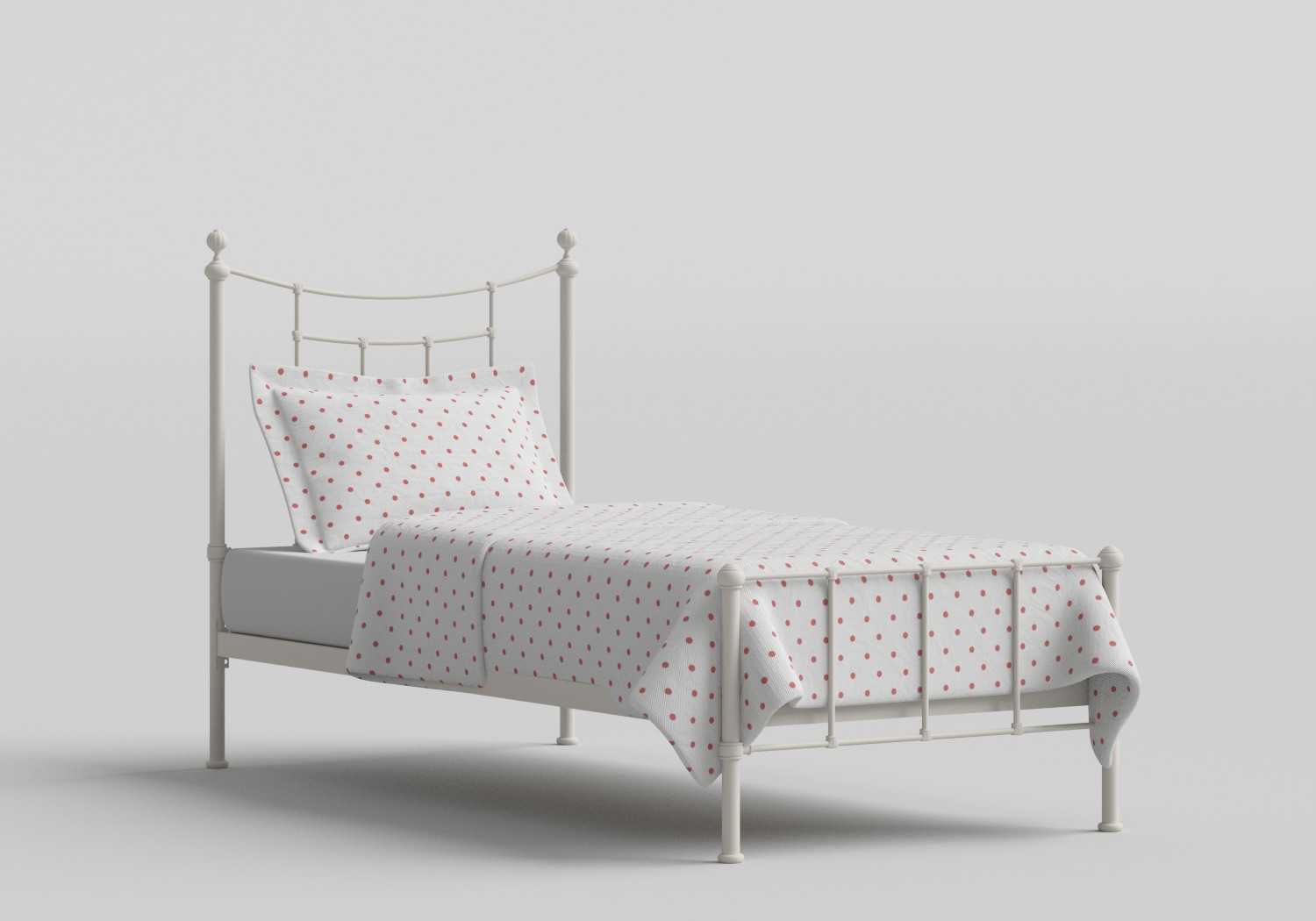 Isabelle Single Iron/Metal Bed in Glossy Ivory