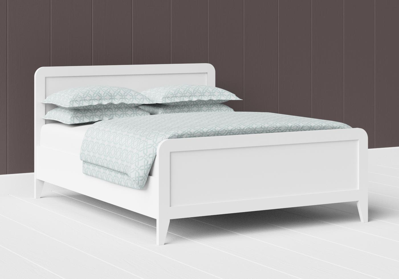Keats low footend painted wood bed in satin white