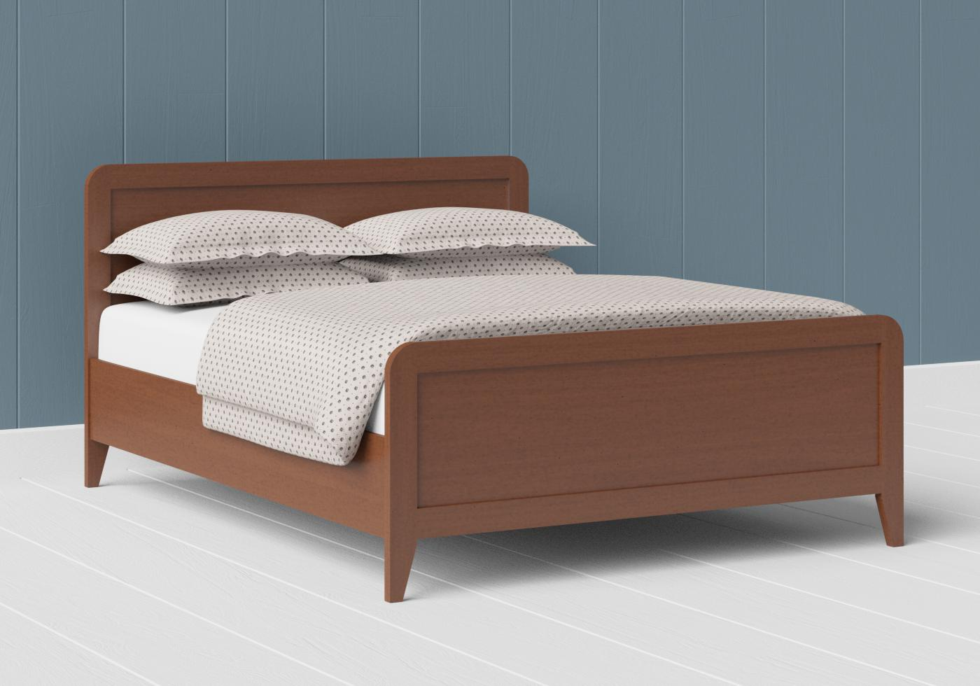 Keats low footend wood bed in a dark cherry finish