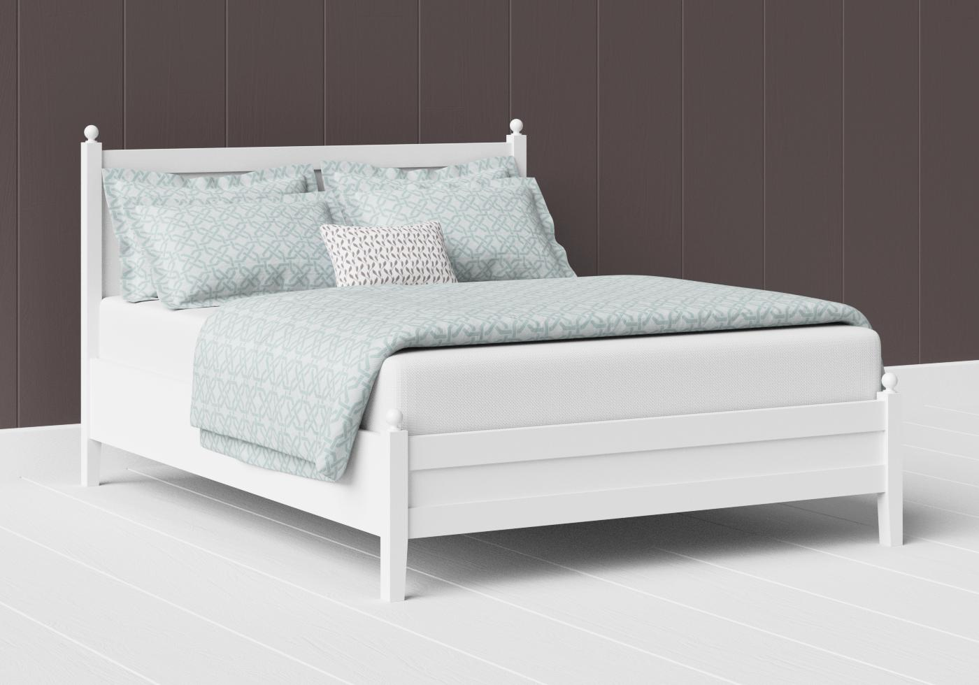 Marbella low footend painted wood bed in satin white