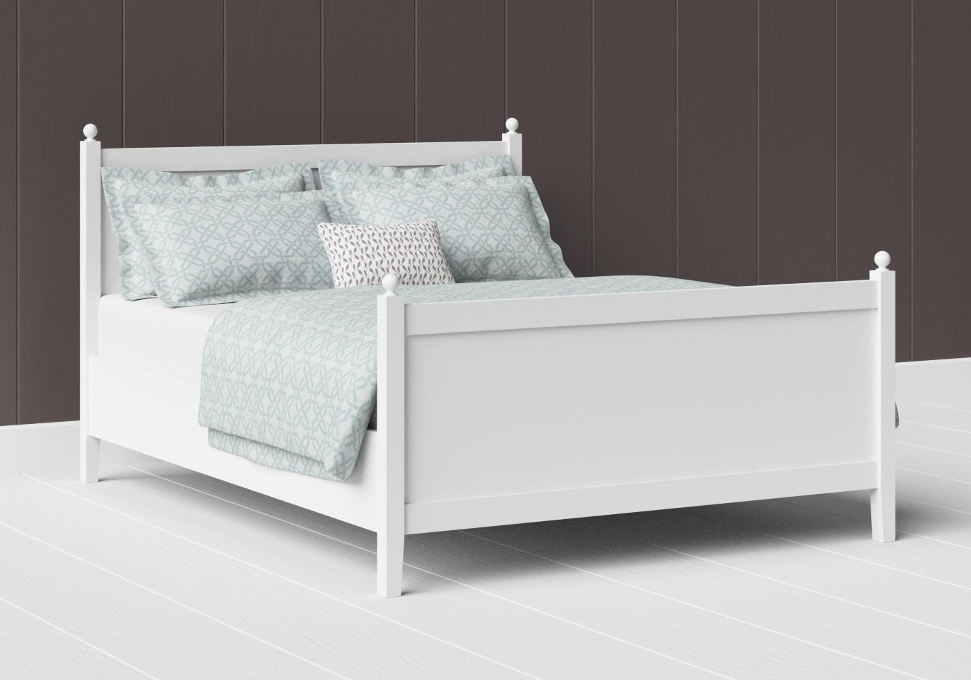Marbella painted wood bed in satin white
