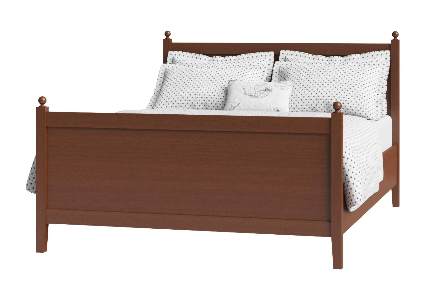 Cutout of Marbella wood bed in a dark cherry finish