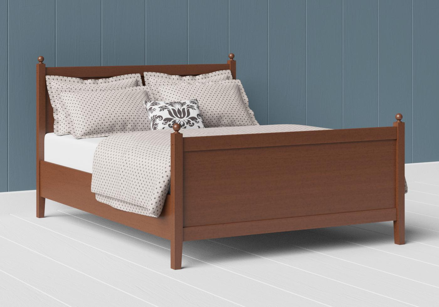 Marbella wood bed in a dark cherry finish