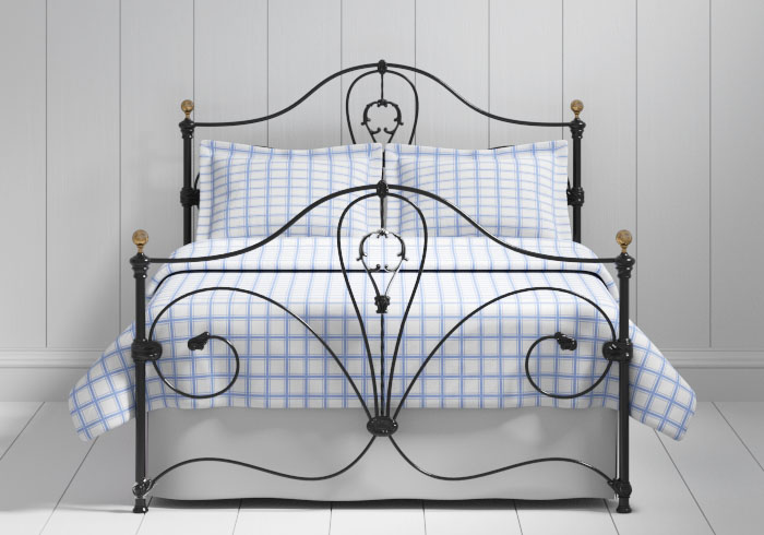Melrose iron bed in black with brass