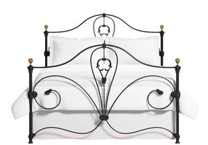 Melrose iron bed in satin black with antique brass knobs