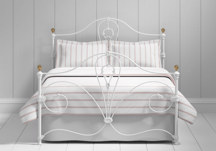 Melrose iron bed in white with brass