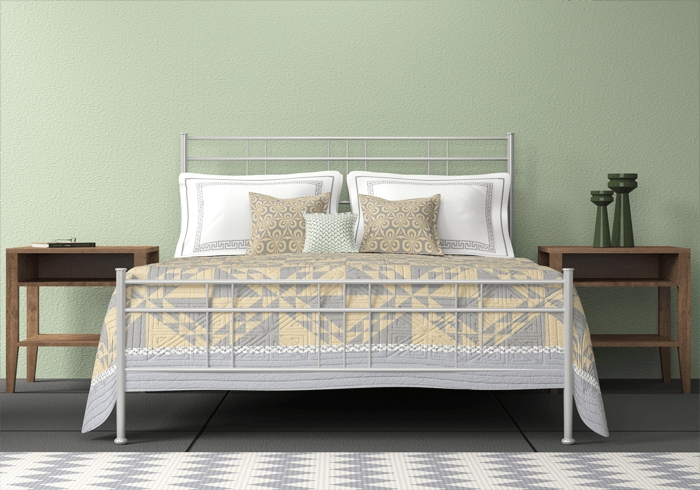 Milano iron bed in glossy silver