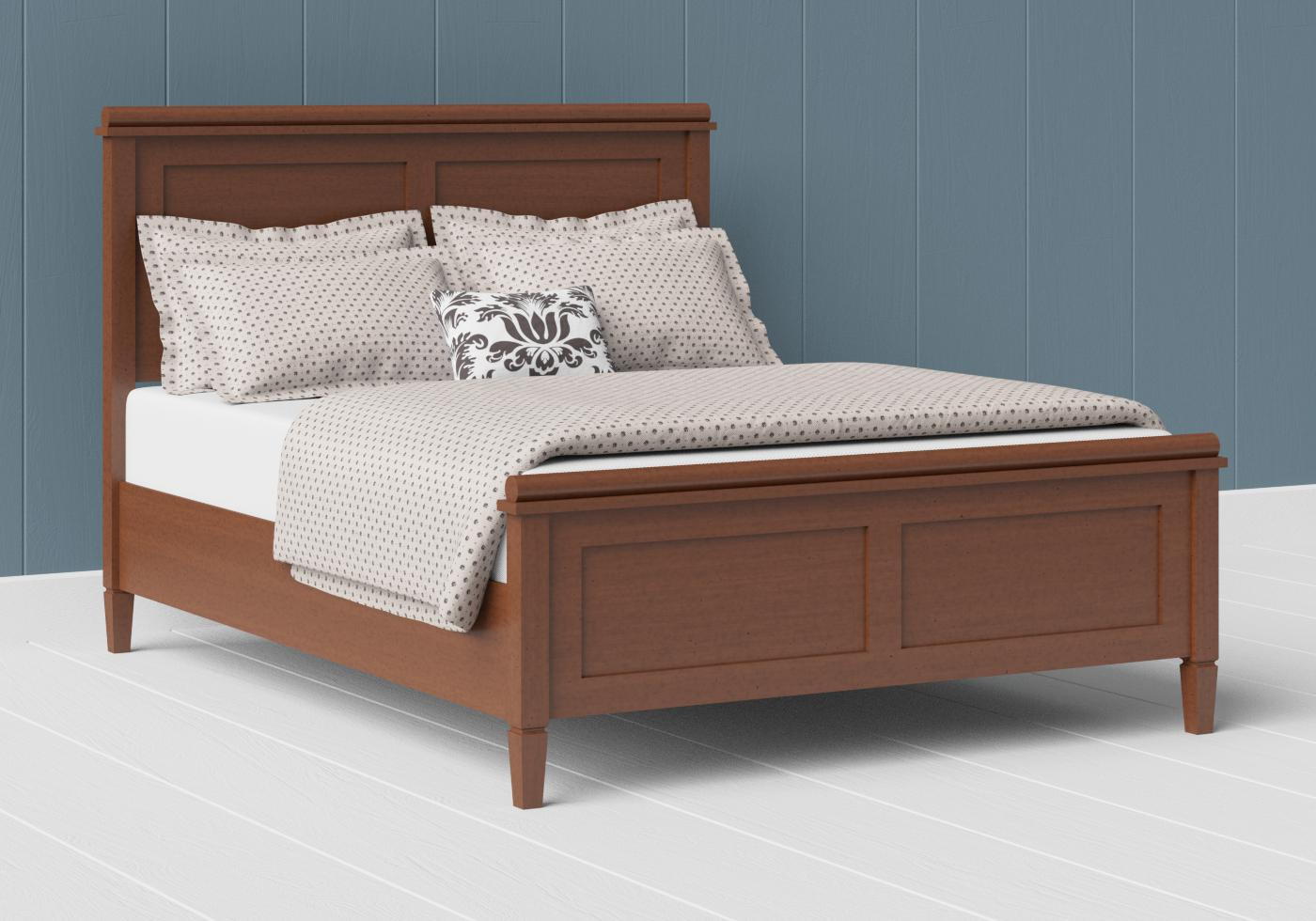 Nocturne low footend wood bed in a dark cherry finish