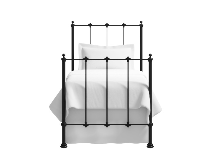 Paris single iron bed in glossy ivory