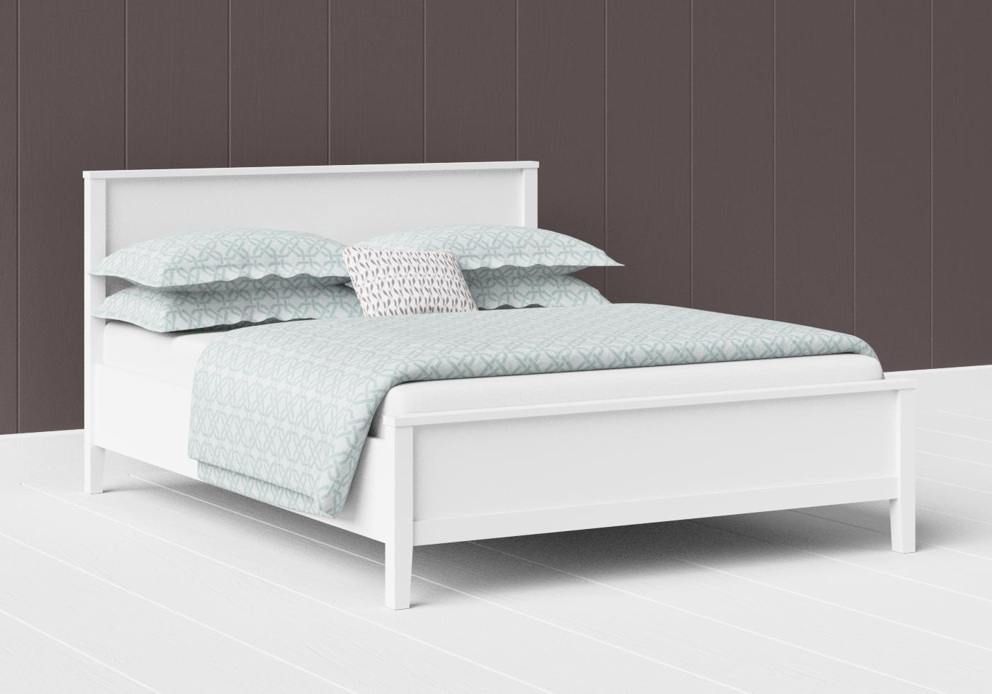 Ramsay low footend painted wood bed in satin white