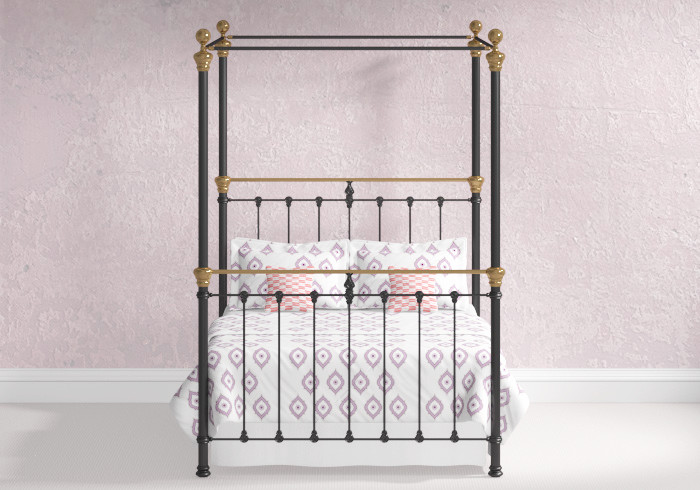 Rannoch iron four poster bed in satin black