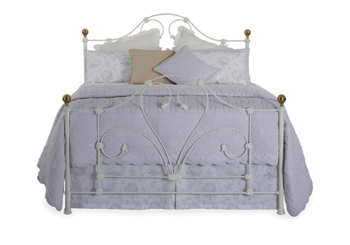 Paris iron bed in glossy ivory with antique brass knobs