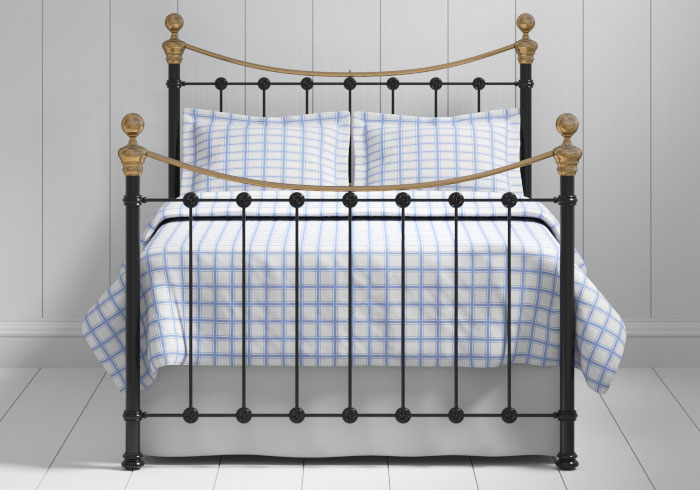 Selkirk iron bed in black with brass