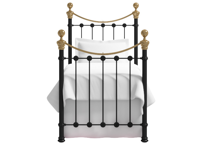 Selkirk single iron bed in satin black with antique brass knobs