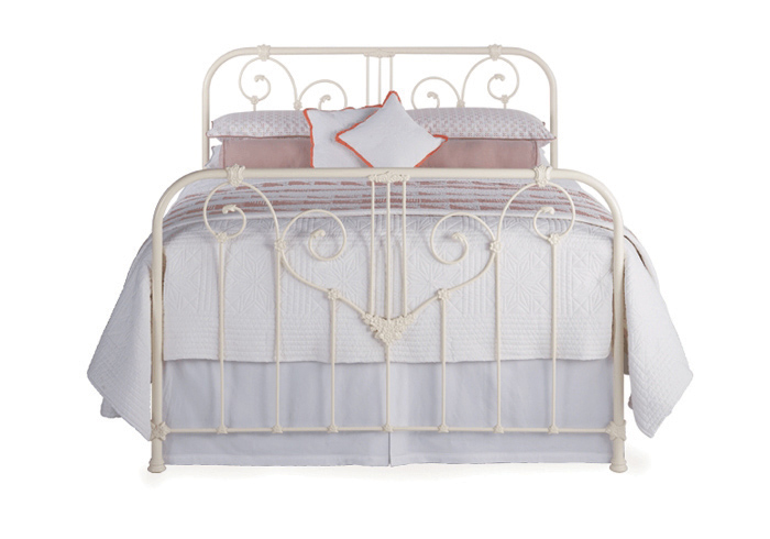 Shabby Chic iron bed in glossy ivory