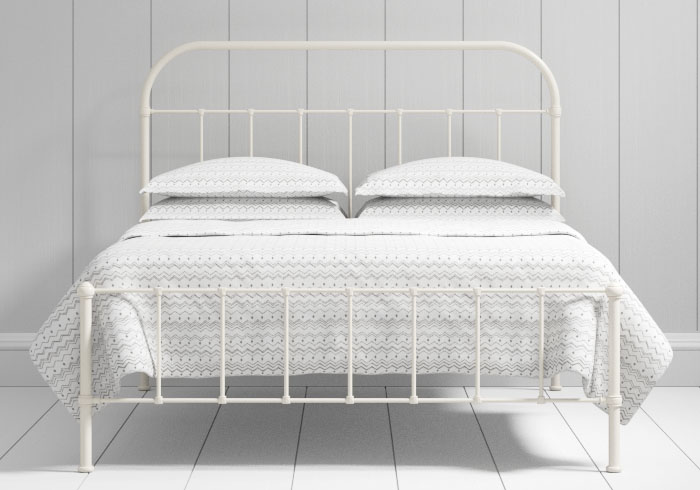 Solomon low footend iron bed in ivory