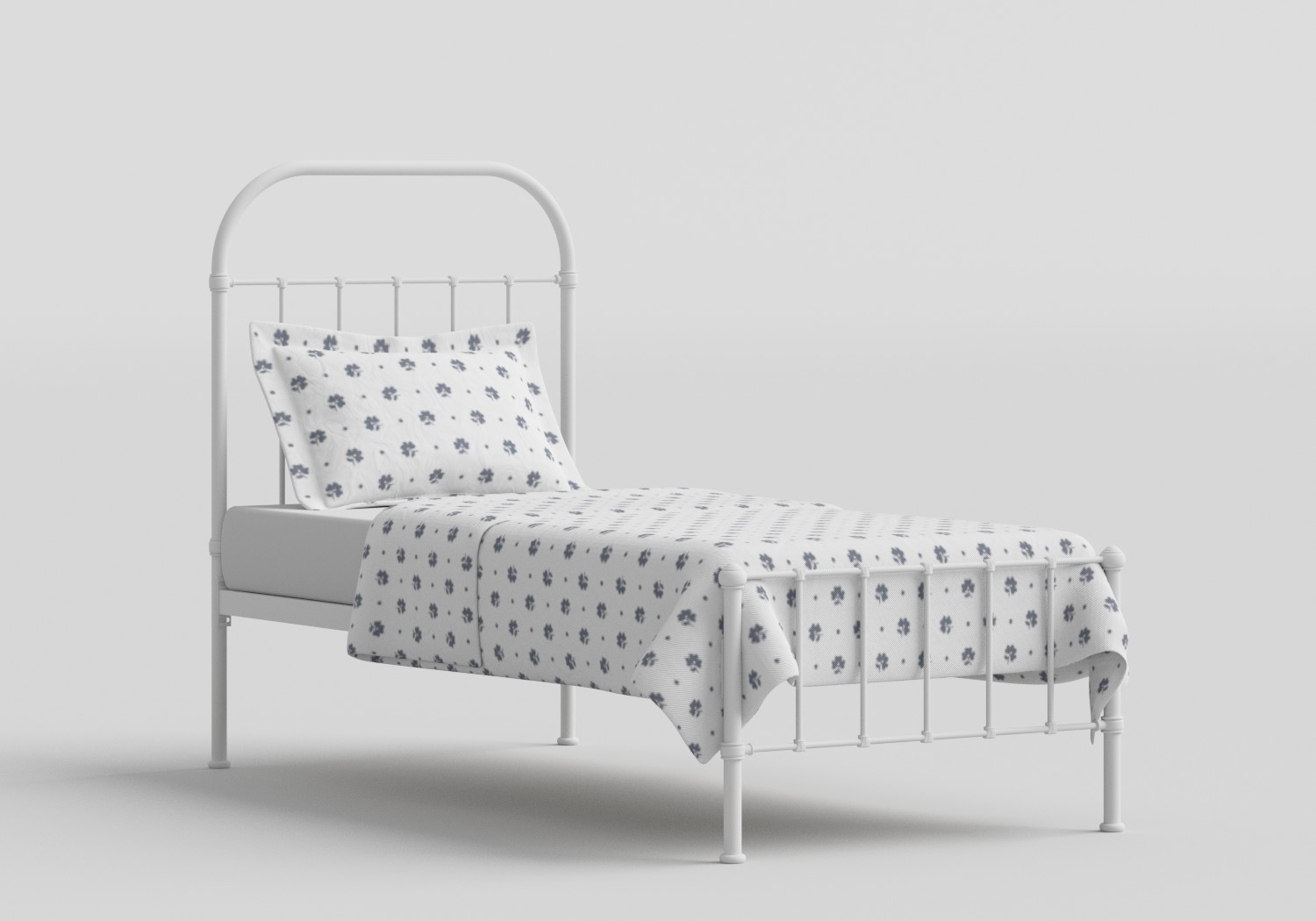 Solomon Single Iron/Metal Bed in Satin White
