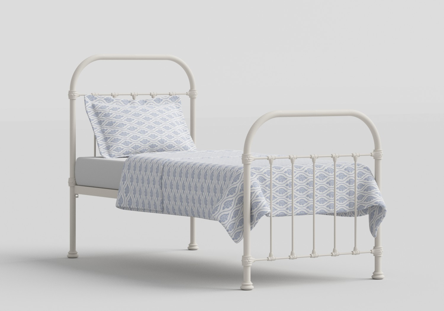 Timolin Single Iron/Metal Bed in Glossy Ivory