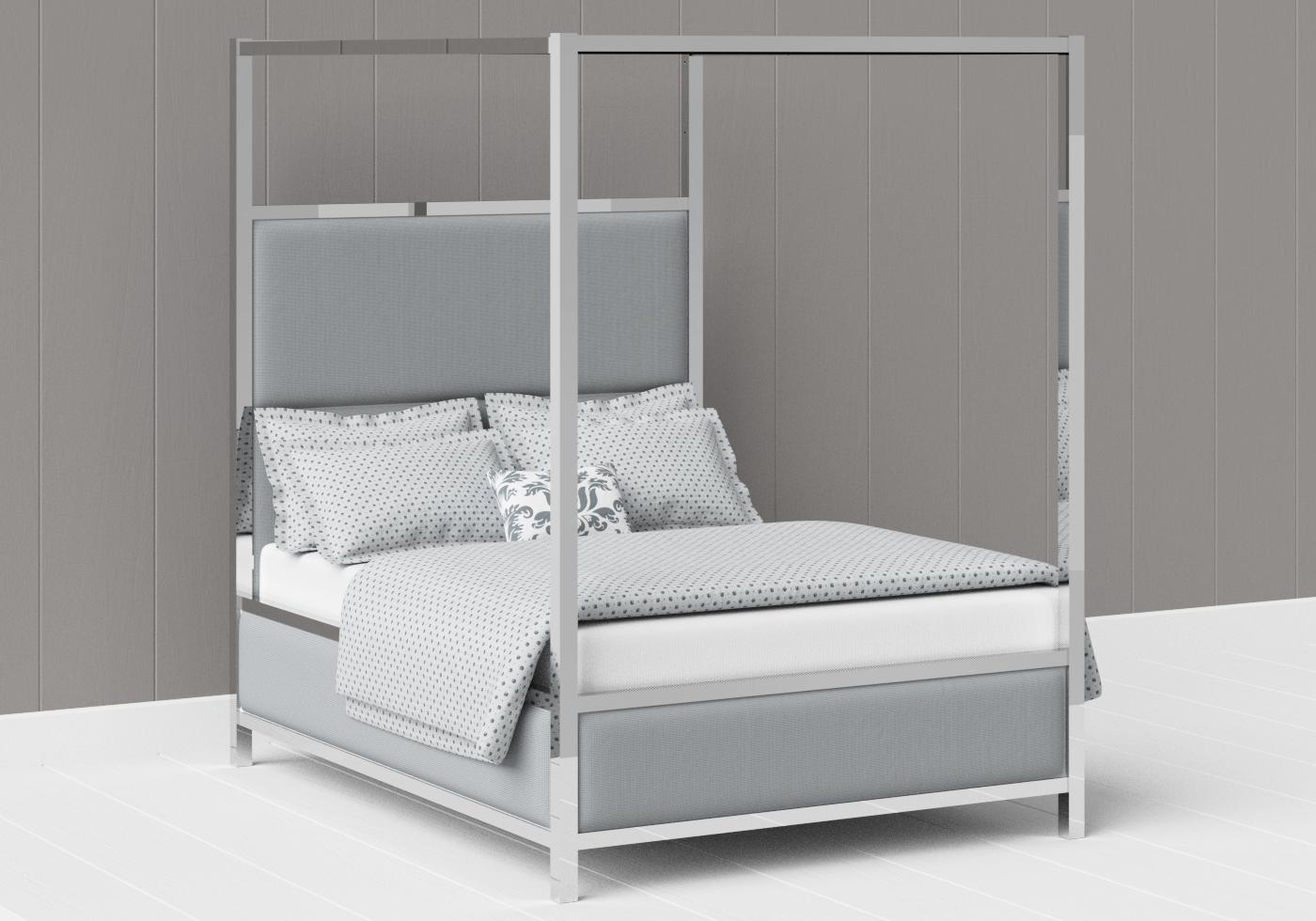 Torridon upholstered four poster chrome bed