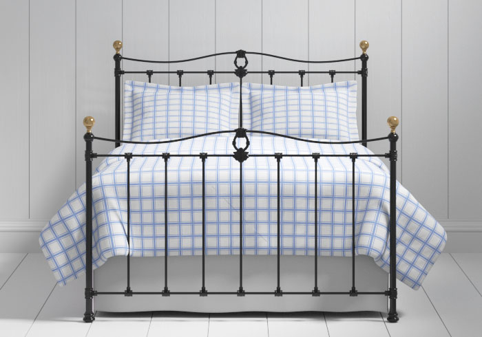 Tulsk iron bed in black with brass