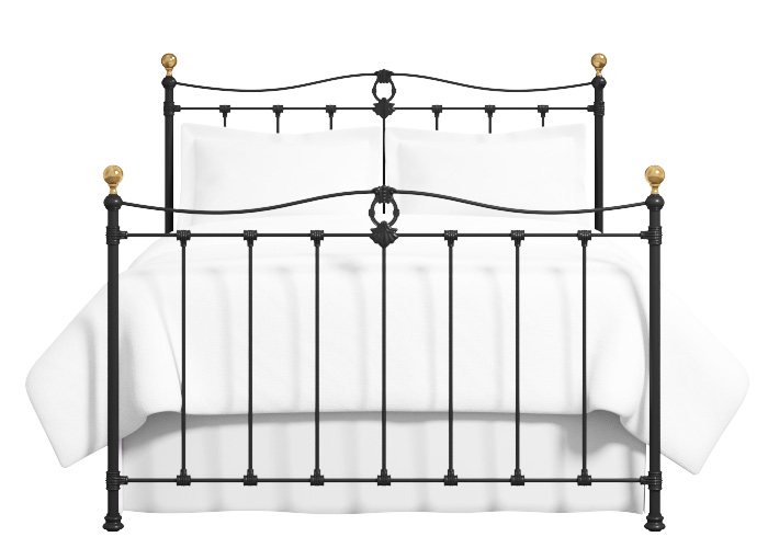 Tulsk iron bed in satin black with antique brass knobs