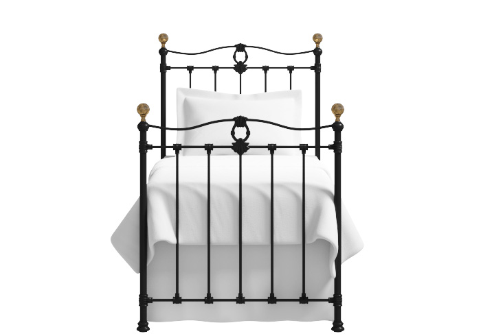 Tulsk iron bed in texture black with gold highlights and antique brass knobs (Single)