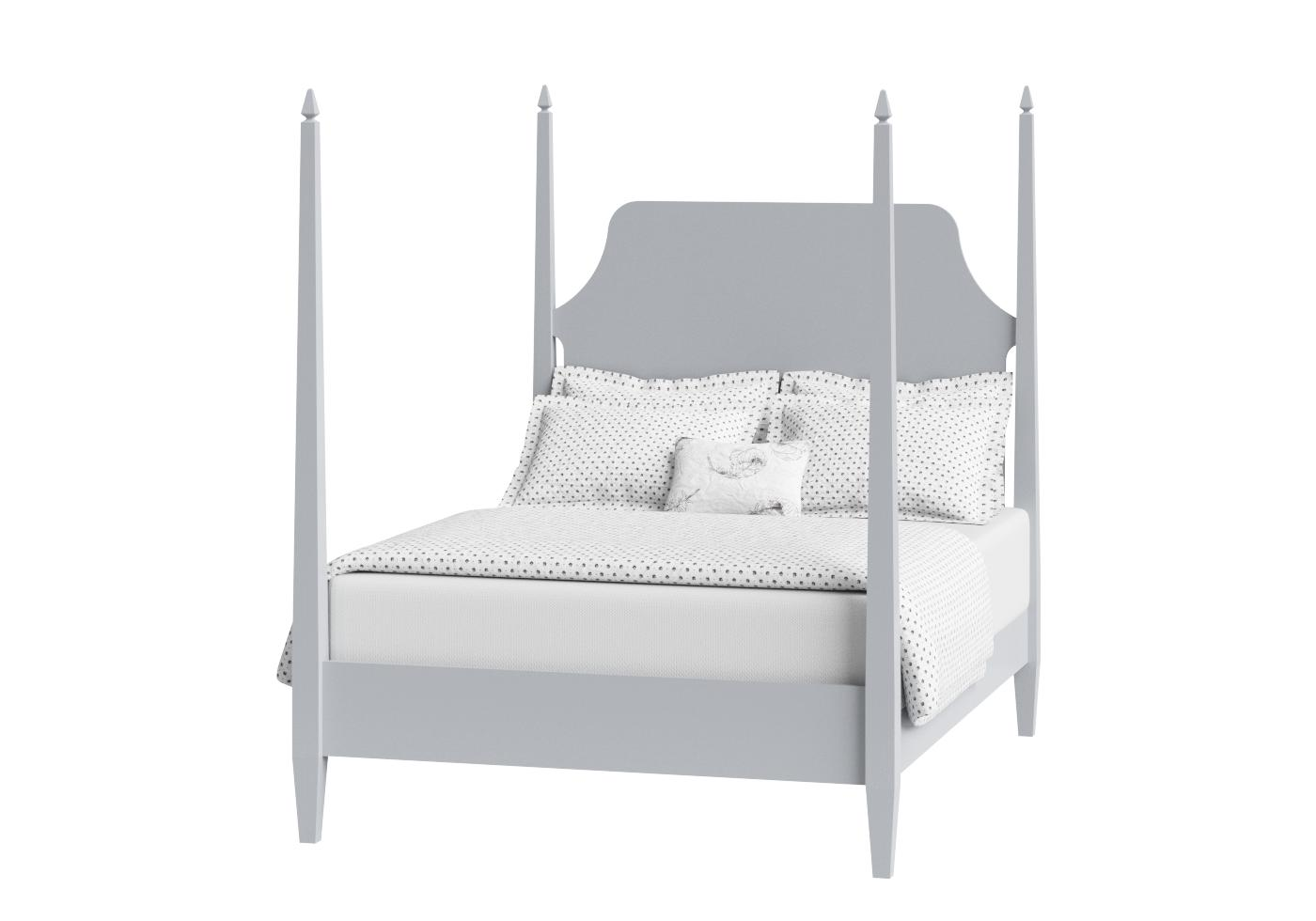 White Four Poster Bed Uk Part - 15: Cutout Of Turner Four Poster Painted Wood Bed In Grey