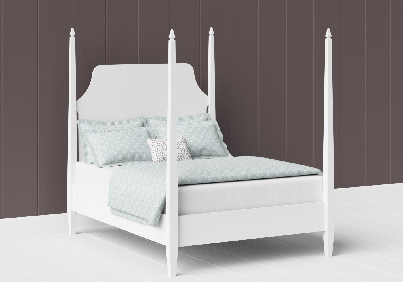 Turner four poster painted wood bed in satin white