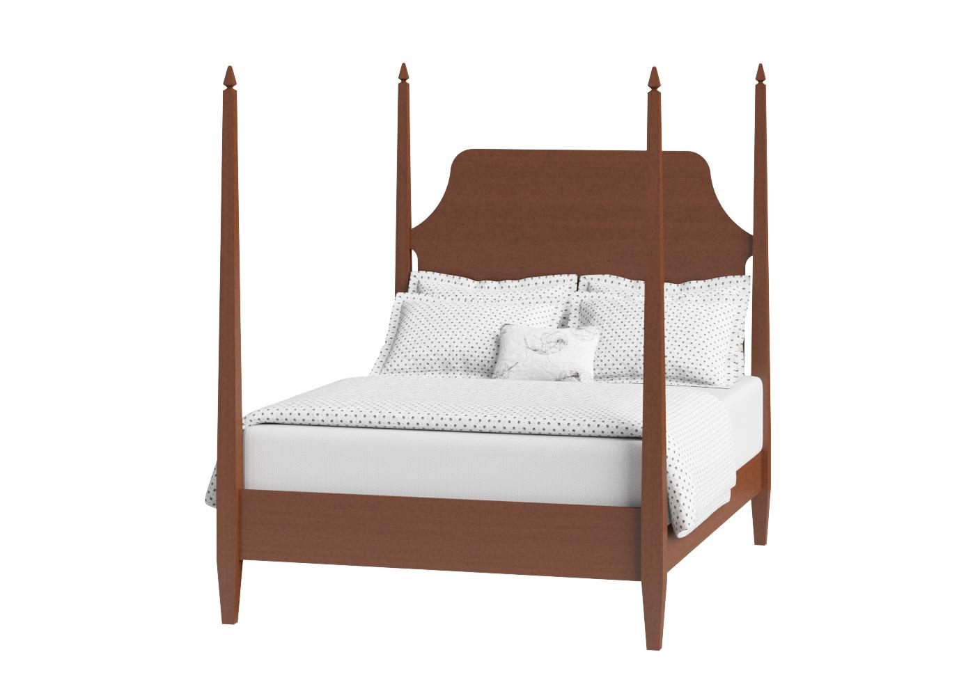 Cutout of Turner four poster wood bed in a dark cherry finish