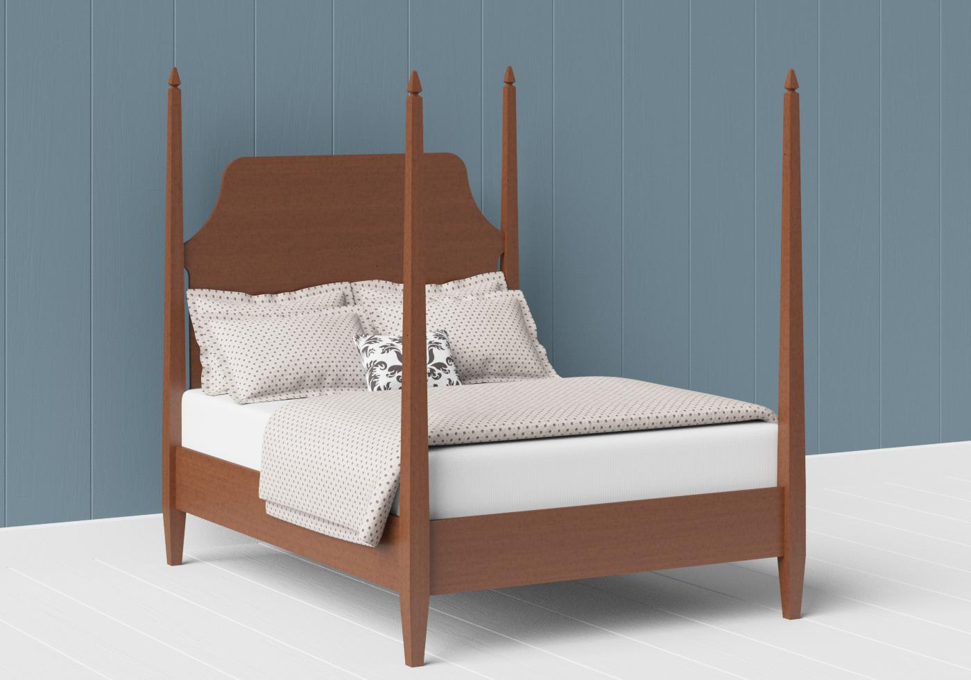 Turner four poster wood bed in a dark cherry finish