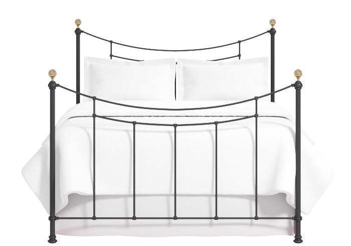 Virginia iron bed in satin black with antique brass knobs