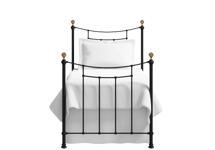 Virginia single iron bed in satin black with antique brass knobs