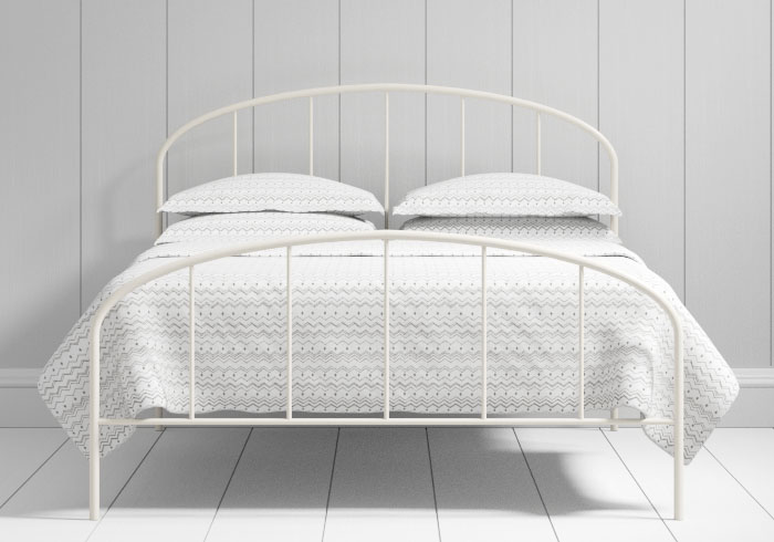 Waldo low footend iron bed in ivory