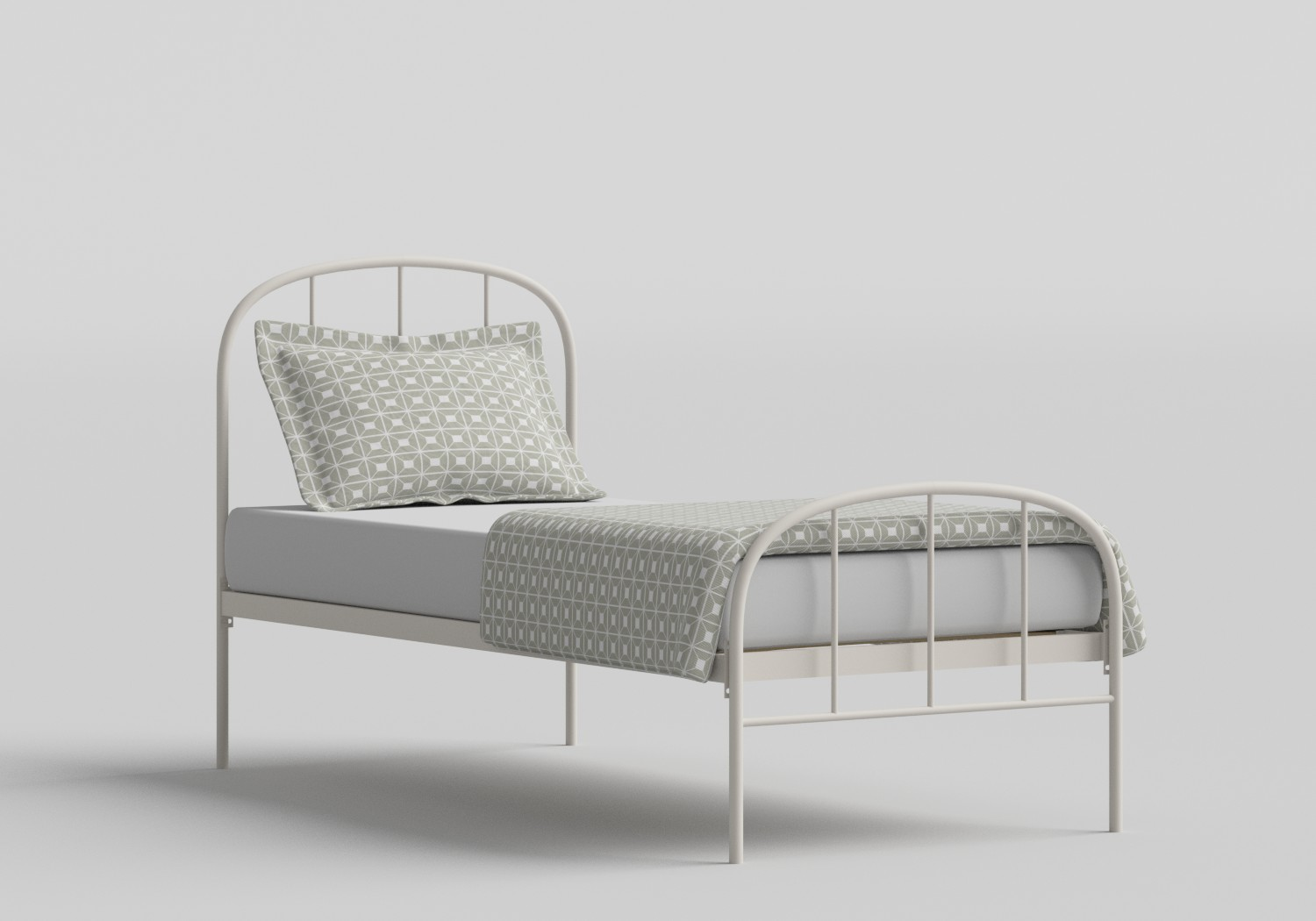 Waldo Single Iron/Metal Bed in Glossy Ivory