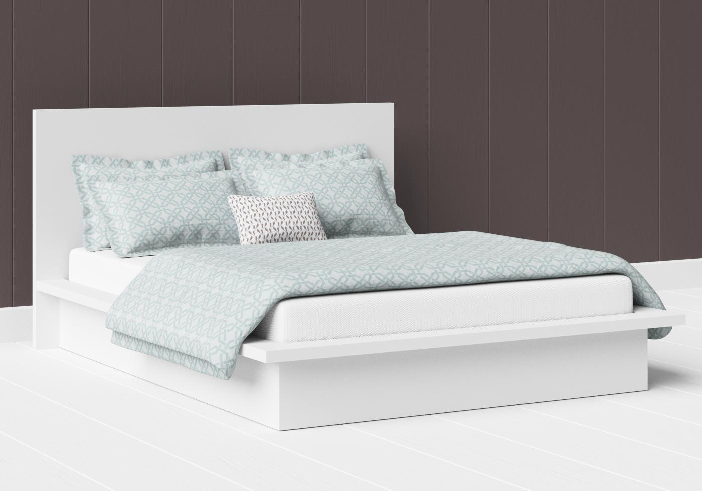 Warner low footend painted wood bed in satin white