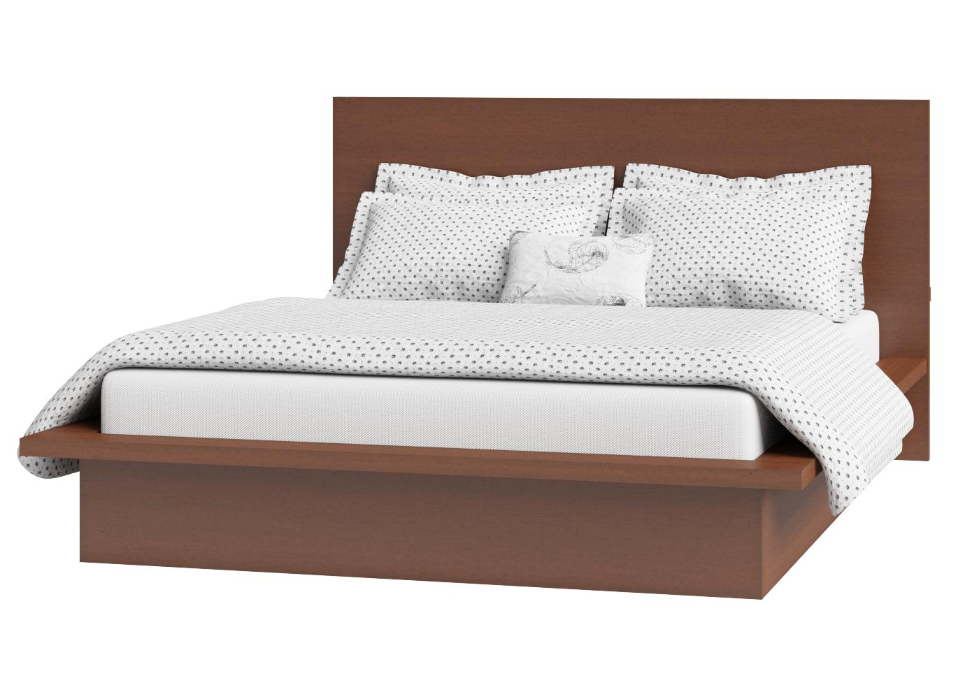 Cutout of Warner low footend wood bed in a dark cherry finish