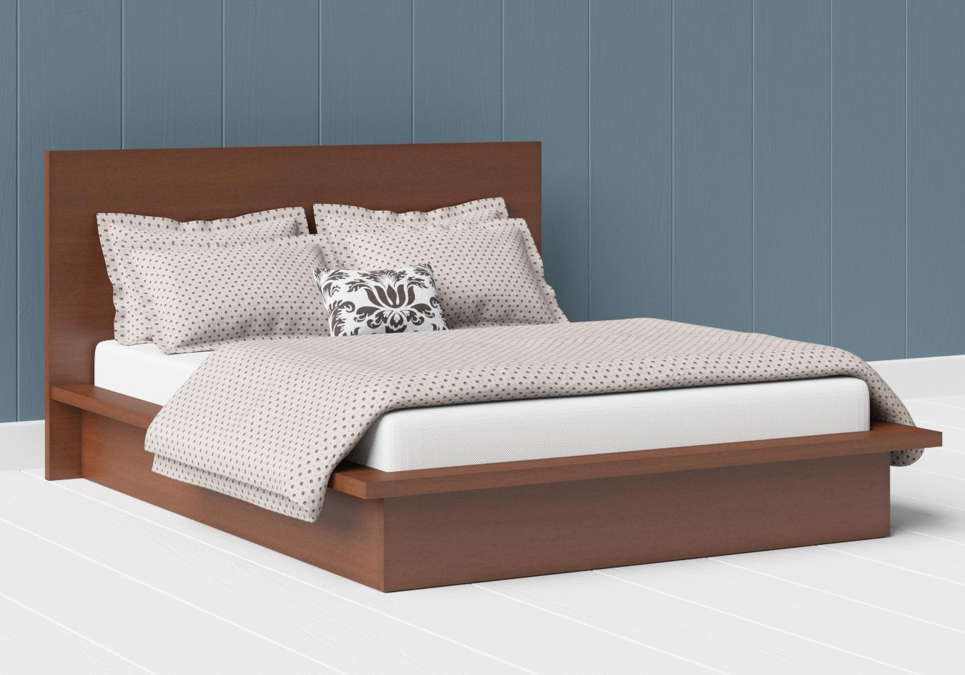 Warner low footend wood bed in a dark cherry finish