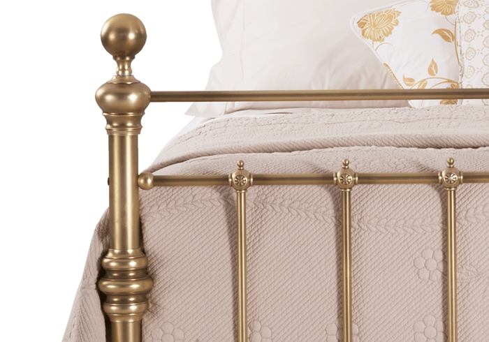 Side casting close up of the Waterford brass bed