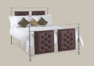 Ashby Chrome Leather Bedstead from Original Bedstead Company - Euro Site.