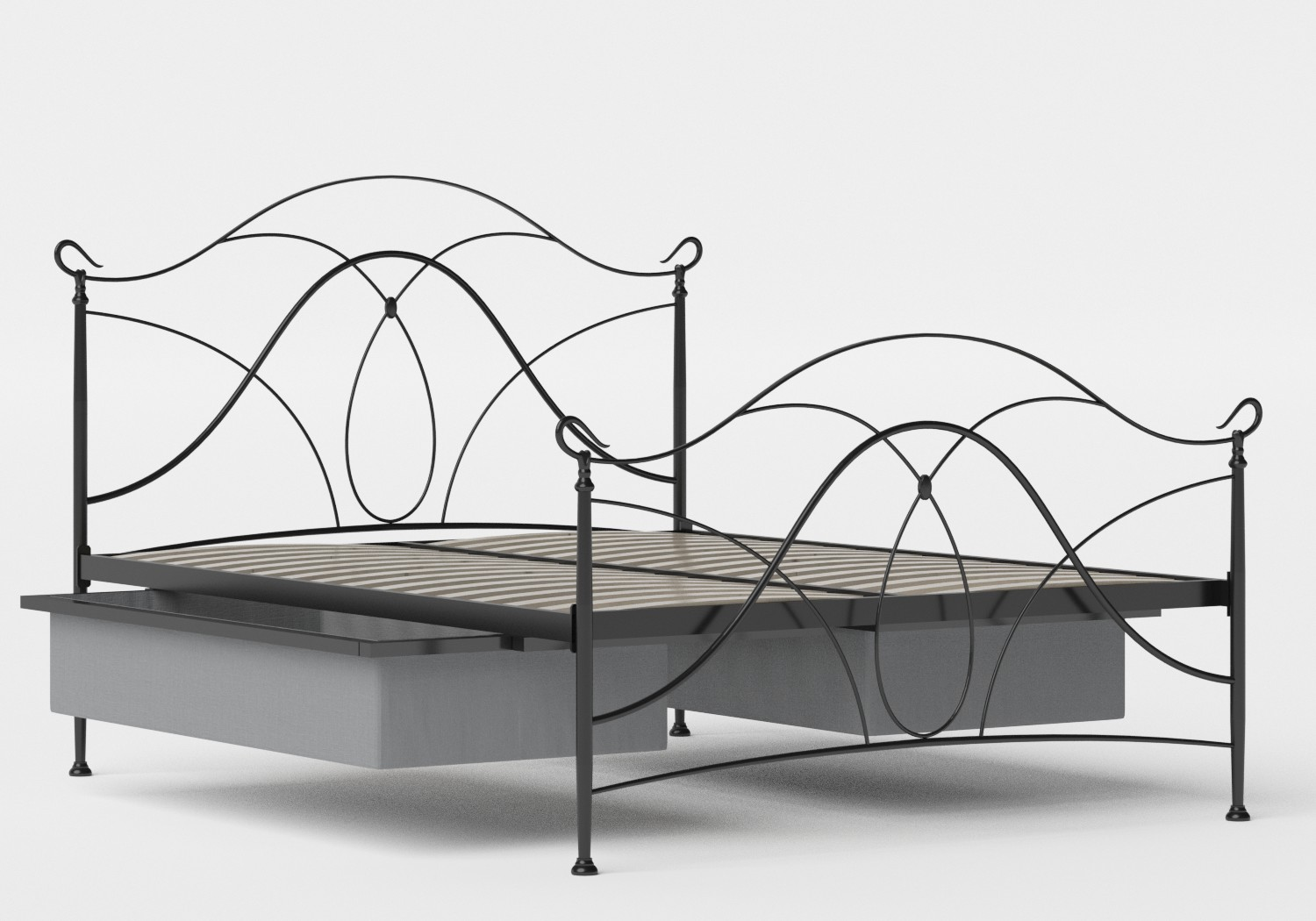 Ardo Iron/Metal Bed in Satin Black shown with underbed storage