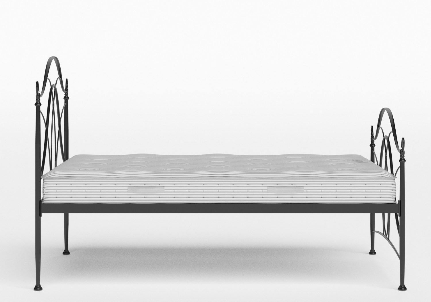 Ardo Iron/Metal Bed in Satin Black shown with Juno 1 mattress