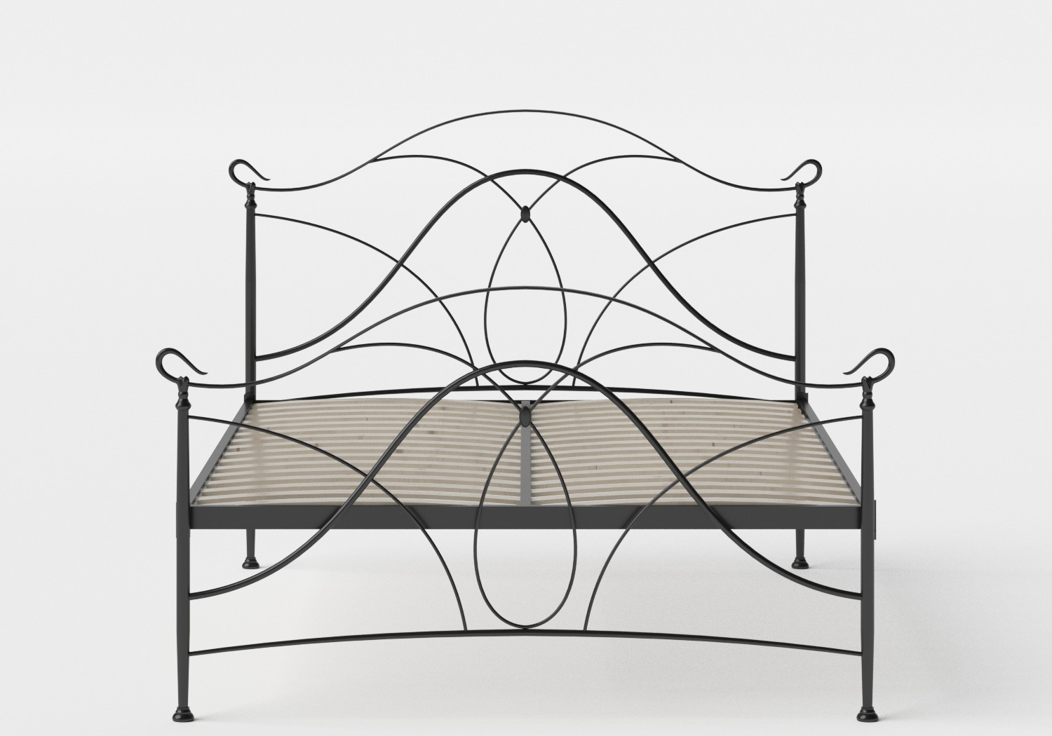 Ardo Iron/Metal Bed in Satin Black shown with slatted frame