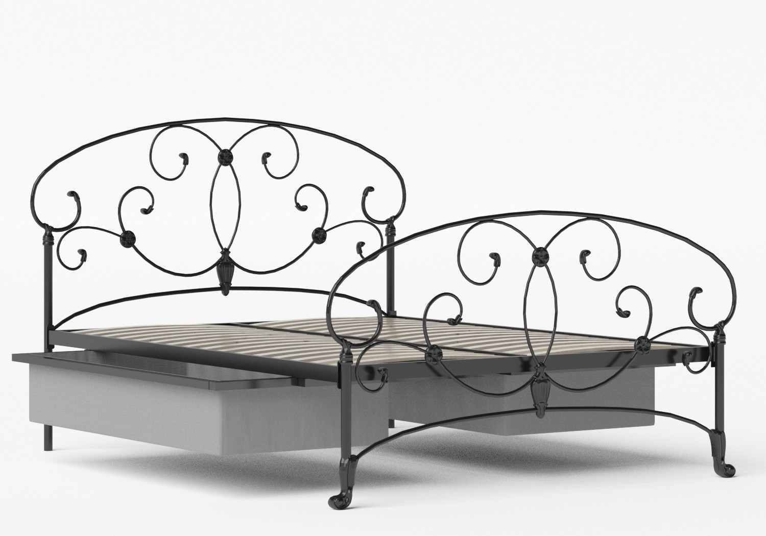 Arigna Iron/Metal Bed in Satin Black shown with underbed storage