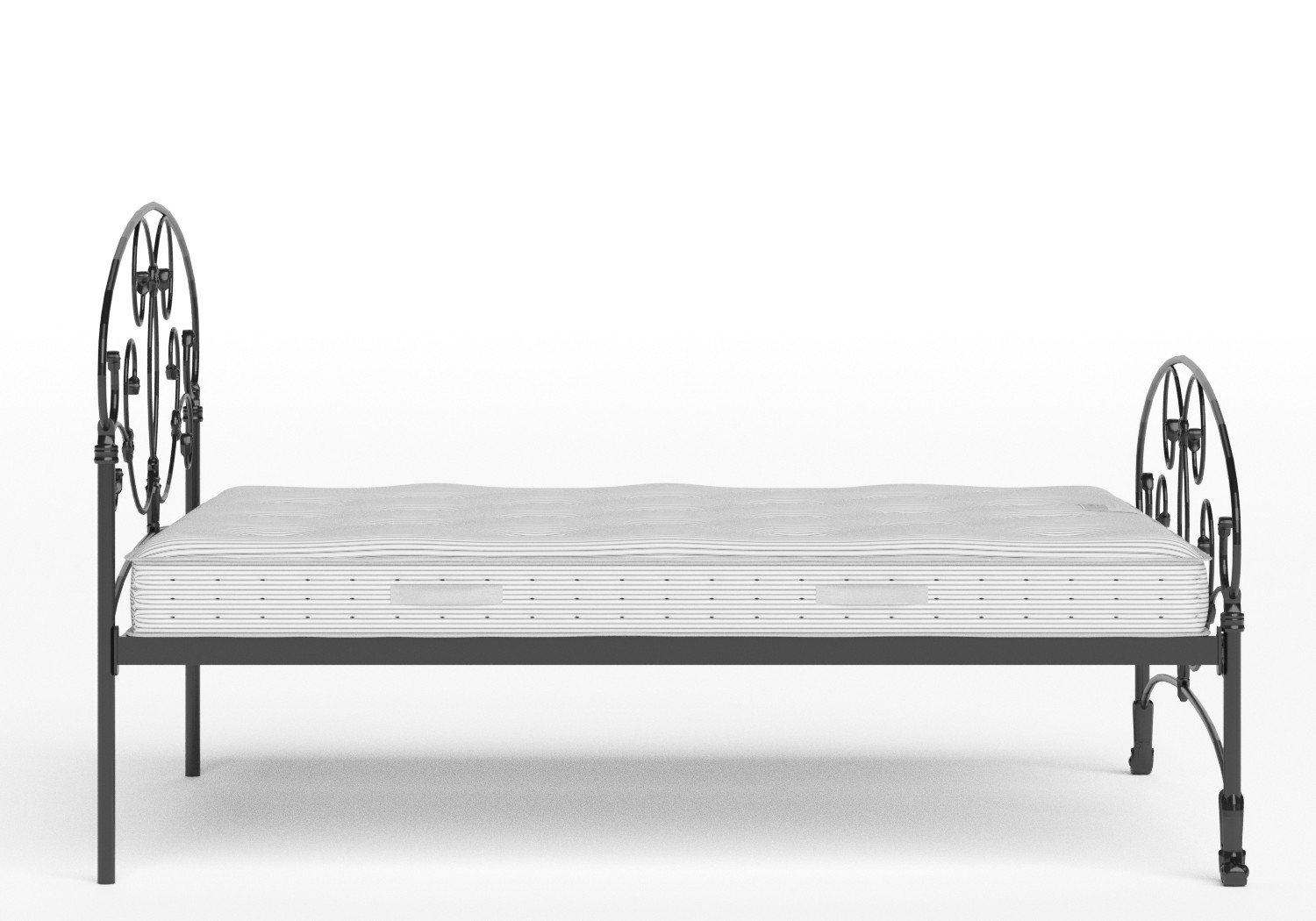 Arigna Iron/Metal Bed in Satin Black shown with Juno 1 mattress